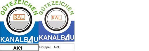 Gütezeichen RAL Kanalbau AK1 und AK2