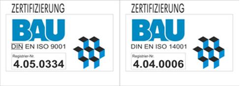 Zertifizierung Bau ISO 9001 und ISO14001